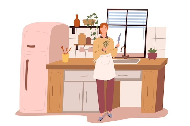 Modern comfortable interior of kitchen web concept. woman cooking in room with refrigerator, table, sink, utensils, plants