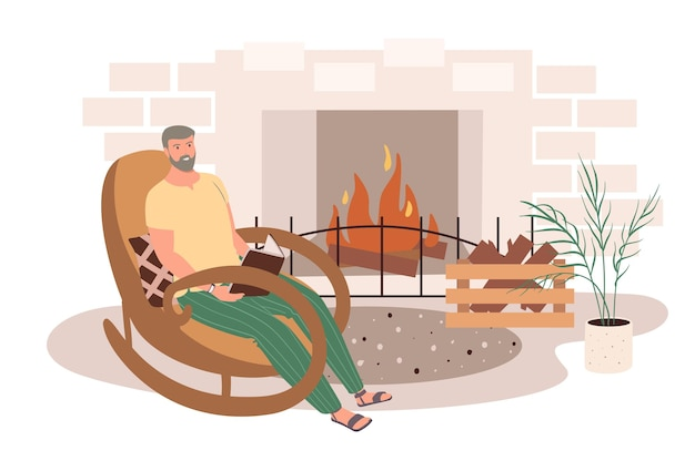 Modern comfortable interior of living room web concept. man reading book sitting in rocking chair in front of fireplace
