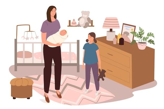 어린이 침실 웹 개념의 현대적인 편안한 인테리어. 신생아와 딸이있는 엄마는 침대, 장난감, 장식이있는 방에 있습니다.