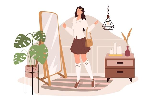 탈의실 웹 개념의 현대적인 편안한 인테리어. 여자는 장식과 식물이있는 방에서 옷을 선택하는 거울의 스탠드
