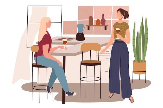 Современный удобный интерьер веб-концепции кухни. женщины пьют вино и разговаривают, сидя на барных стульях за столом