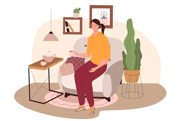 リビングルームのウェブコンセプトのモダンで快適なインテリア。肘掛け椅子、コーヒーテーブル、植物、装飾に座ってお茶を飲む女性