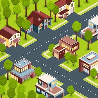 Case suburbane moderne e confortevoli con garage per scale esterne in bella illustrazione di vista isometrica dell'occhio di uccelli della campagna