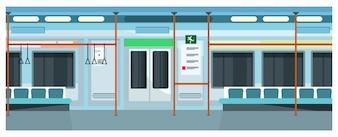 Modern comfortable subway train illustration