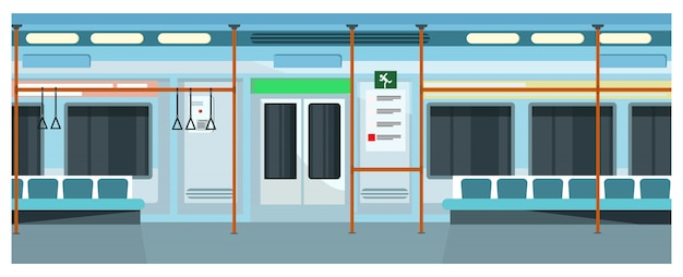 Modern comfortable subway train illustration