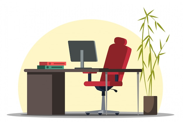 Современный удобный дизайн интерьера рабочего места, мебель в офисе. компьютер на рабочем столе, папки с документами, красный стул, бамбук в горшке, украшение комнаты зеленью