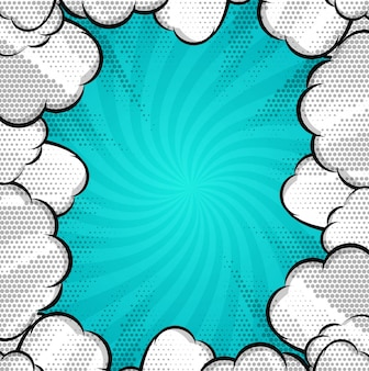 Modern comic background with clouds