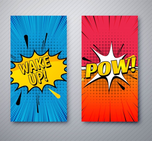 Modern comic banners set template design