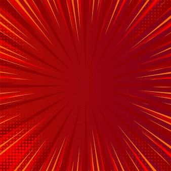 Modern comic red background with exploding rays