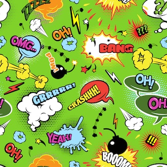 Modern comics background pattern with bombs lightening and jagged clouds speech bubbles