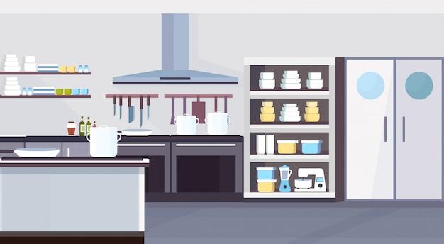 현대 상업 레스토랑 주방 인테리어 디자인 요리 및 요리 개념 빈 아니 사람 수평 평면