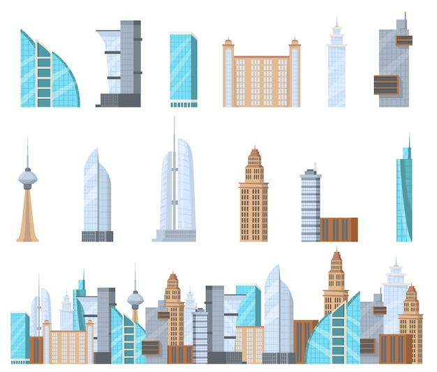 웹 디자인을위한 현대 상업 고층 빌딩 플랫 세트입니다. 도시 격리 된 벡터 일러스트 컬렉션의 만화 고층 복잡. 건물 외관 및 비즈니스 아키텍처 개념
