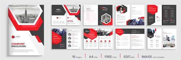 Modern company brochure template design with red color shapes
