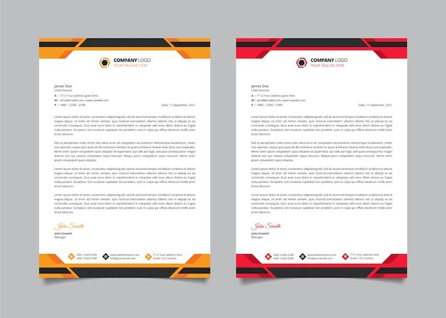 Modern company business letterhead design template set with red and yellow color shapes