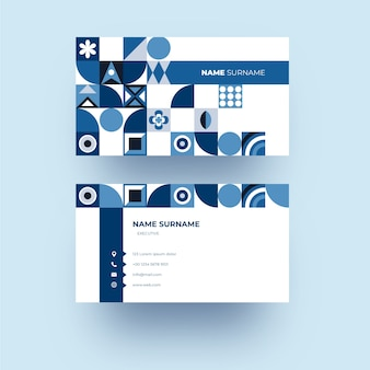 Modern company card template with blue shapes
