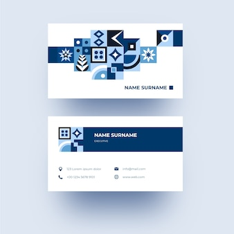 Modern company card with blue shapes
