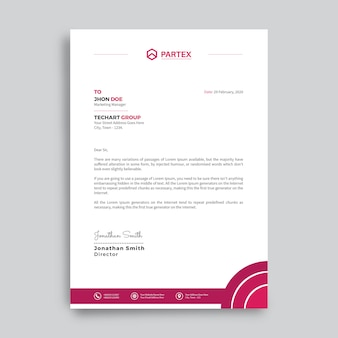 Modern company letterhead design template with red shapes