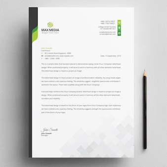 Modern company letterhead with green elements