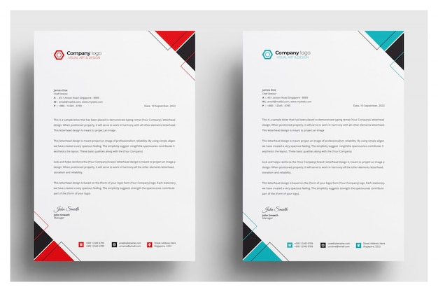 Modern company letterhead with various colors