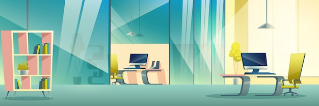 Modern company office cartoon  interior