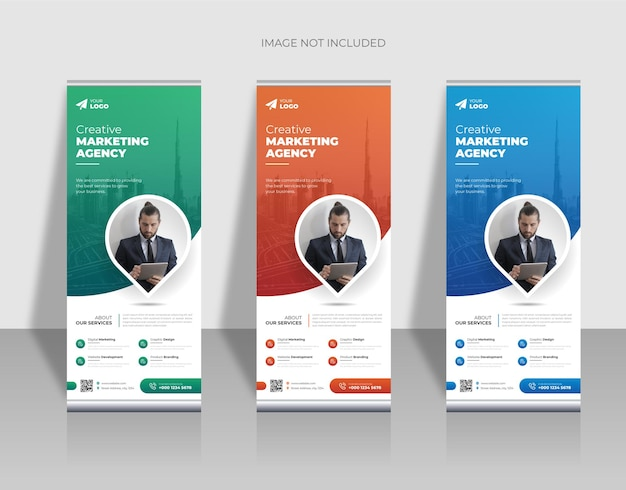 Modern company rollup standee banner in green, orange and blue color