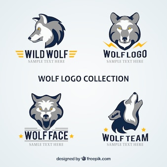 Modern company wolf logo collection