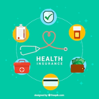 Modern composition with health insurance icons