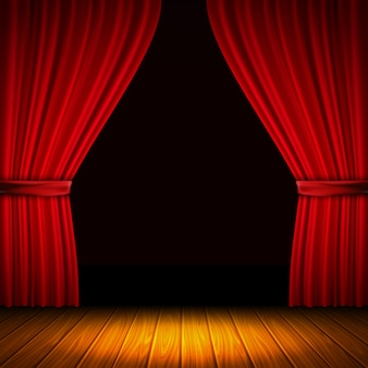 Modern composition with red curtain light and shade in the middle of curtains and wooden floor vector illustration