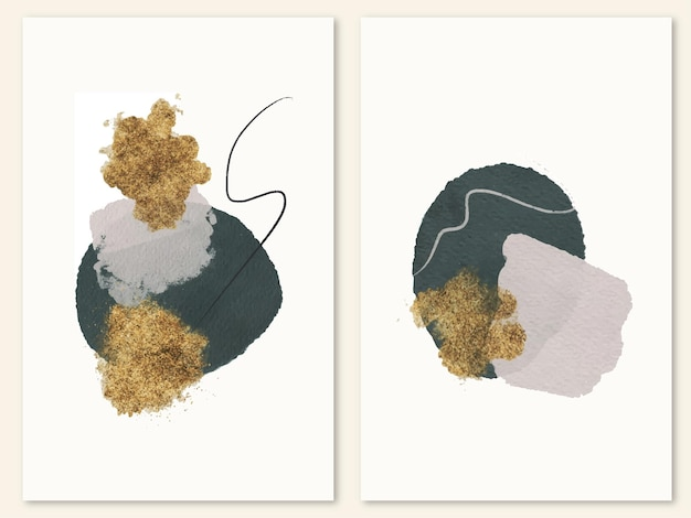 Modern composition with watercolor shape and gold ink minimalist poster