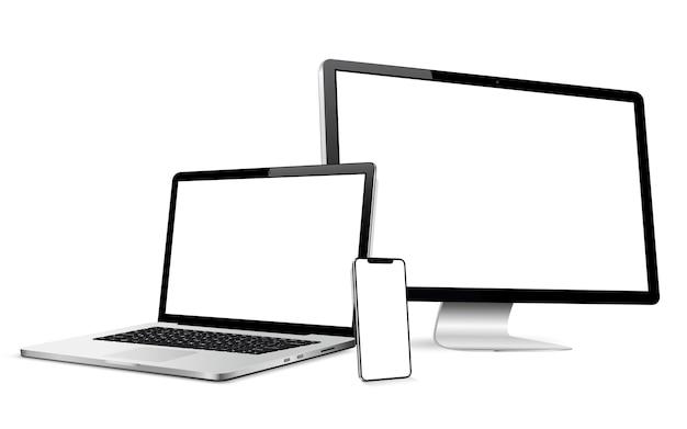 현대 컴퓨터 디스플레이 및 스마트 폰 빈 화면