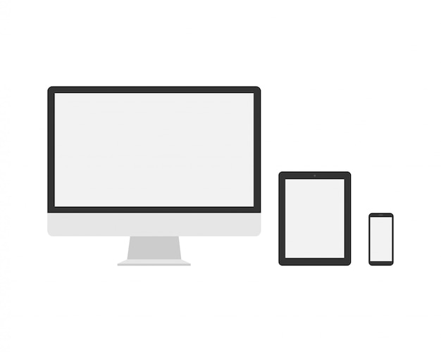 Modern computer, laptop, smartphone on white