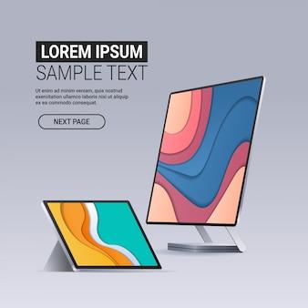 現代のコンピューターモニターとタブレットの色付き画面現実的なガジェットとデバイスの概念