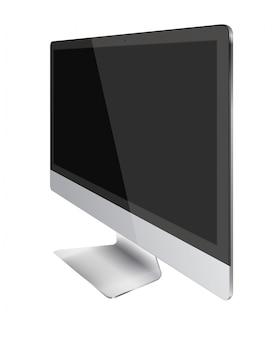 Современный дисплей монитора компьютера с черным экраном.