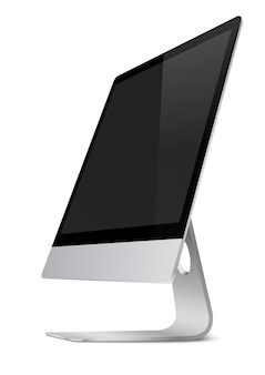 Modern computer monitor display with black screen.