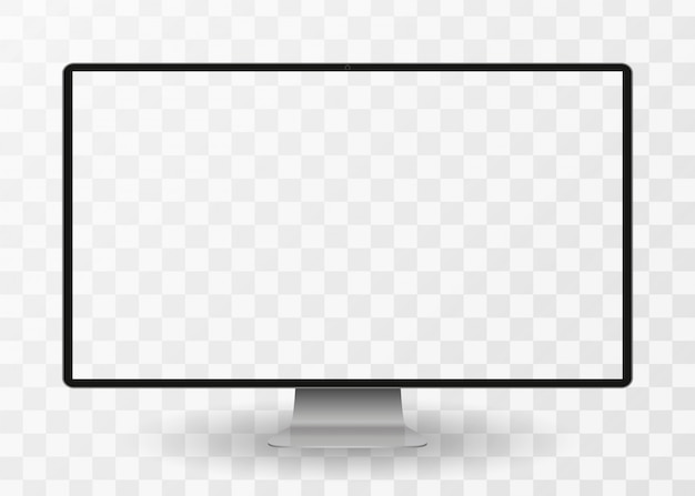 Modern computer monitor display with blank screen isolated on transparent background. front view.