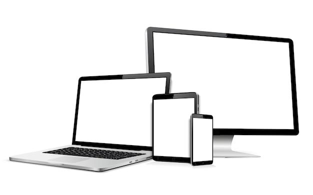 空白の画面で現代のコンピューターモニターラップトップデジタルタブレットと携帯電話