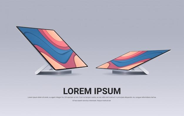 色付きの画面の現実的なガジェットとデバイスのコンセプトを持つ現代のコンピューターモニター