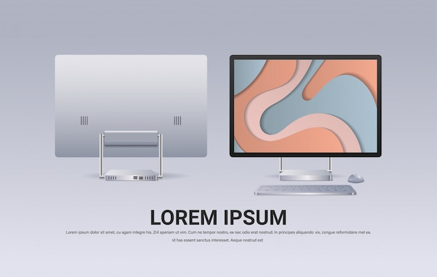 キーボードマウスとカラースクリーンの現実的なガジェットとデバイスのコンセプトを持つ現代のコンピューターモニター