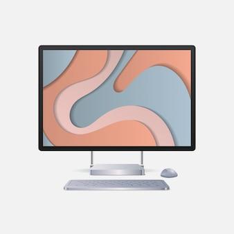 キーボードマウスとカラースクリーンの現実的なガジェットとデバイスを備えた現代のコンピューターモニター