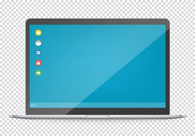 Modern computer with operating system interface template.