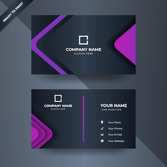 Modern concept business card design with purple color pink triangle templates
