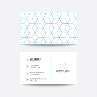 Modern concept cube style business card - blue color