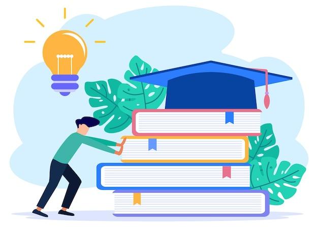 現代の概念教育フラットベクトルイラスト、本のスタックを押すキャラクターの人。ウェブサイトとモバイルウェブサイトのライブおよびオンライン学習。ランディングページテンプレート。編集とカスタマイズが簡単 Premiumベクター