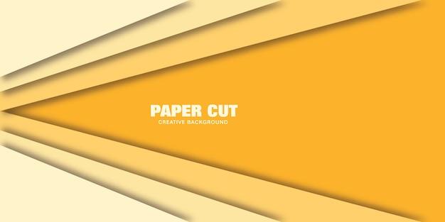黄色の線のモダンなコンセプトは、紙のベクトルイラストバナーのスタイルをカットしました。