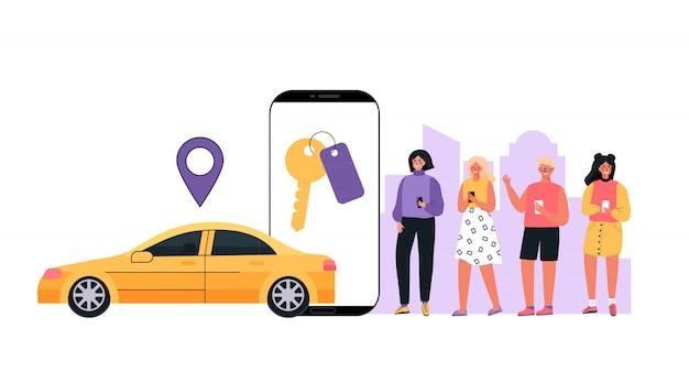 Современная концепция аренды автомобилей, автосервис в любом месте города. люди используют мобильное приложение на телефоне.