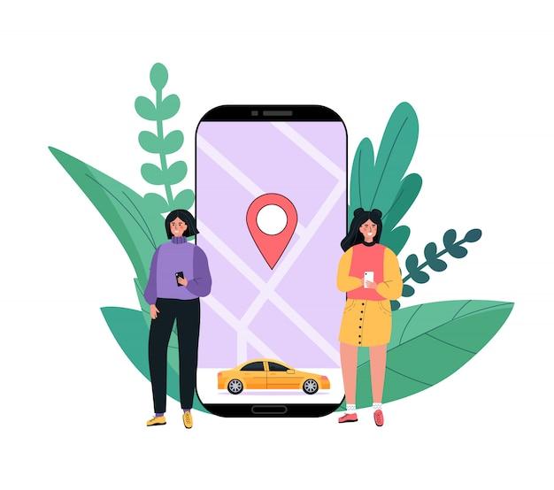 近代的なコンセプトのレンタカー、カーシェアリングサービス、あらゆる場所の都市。人々は電話でモバイルアプリケーションを使用しています。