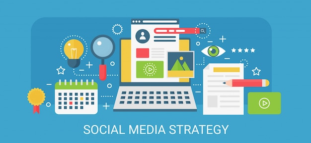 Modern  concept social media strategy banner with icons and text.