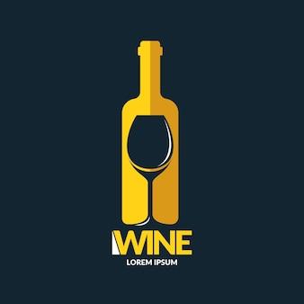 モダンなコンセプトのワインのロゴの背景