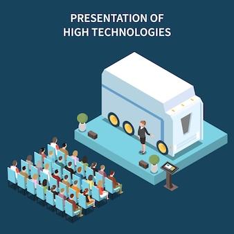 表彰台に大きな自動車用スマートデバイスを備えた現代の会議場のハイテクプレゼンテーションアイソメトリック構成
