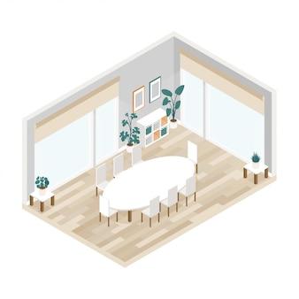 等尺性のモダンな会議室のインテリア